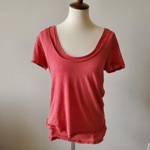 We the Free Double Layer Short Sleeve Coral Top